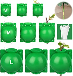 Linkstyle 9PCS Plant Rooting Device, High-Pressure Propagation Ball Rooter Box for Garden, Reusable Box Grafting Botany Root Controller for Indoor Outdoor Plants Asexual Reproduction (L+M+S, Green)