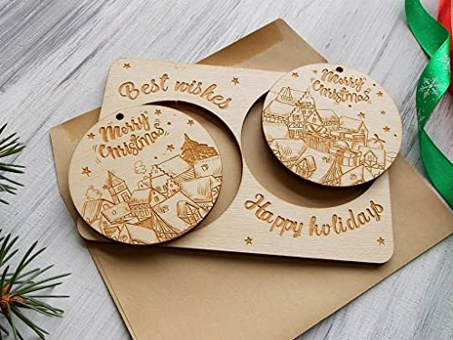 Amazon Com Wooden Holiday Greeting Card 2019 Laser Cut Ornaments Christmas Tree Decor Coworker Gift For Friend Personalized Christmas Card Best Friend Gift Merry Christmas Gift For Parents Holiday Decor Handmade