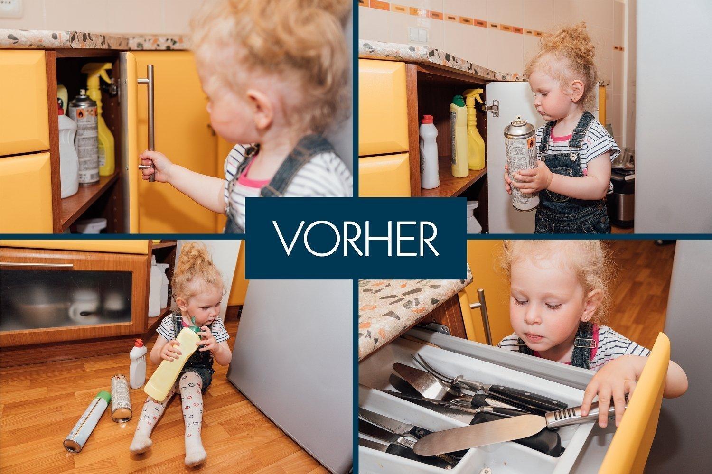 Schranksicherung mit doppelter Klebkraft Deutscher Hersteller Schubladensicherung f/ür K/üche 12+4 Magnetische Kindersicherung f/ür Schrank und Schublade Hoffenbach/®