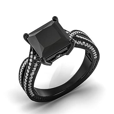 Black Ring Womens Gold Filled Rings Wedding Band Princess Cut Elegant CZ Diamond Vaduz