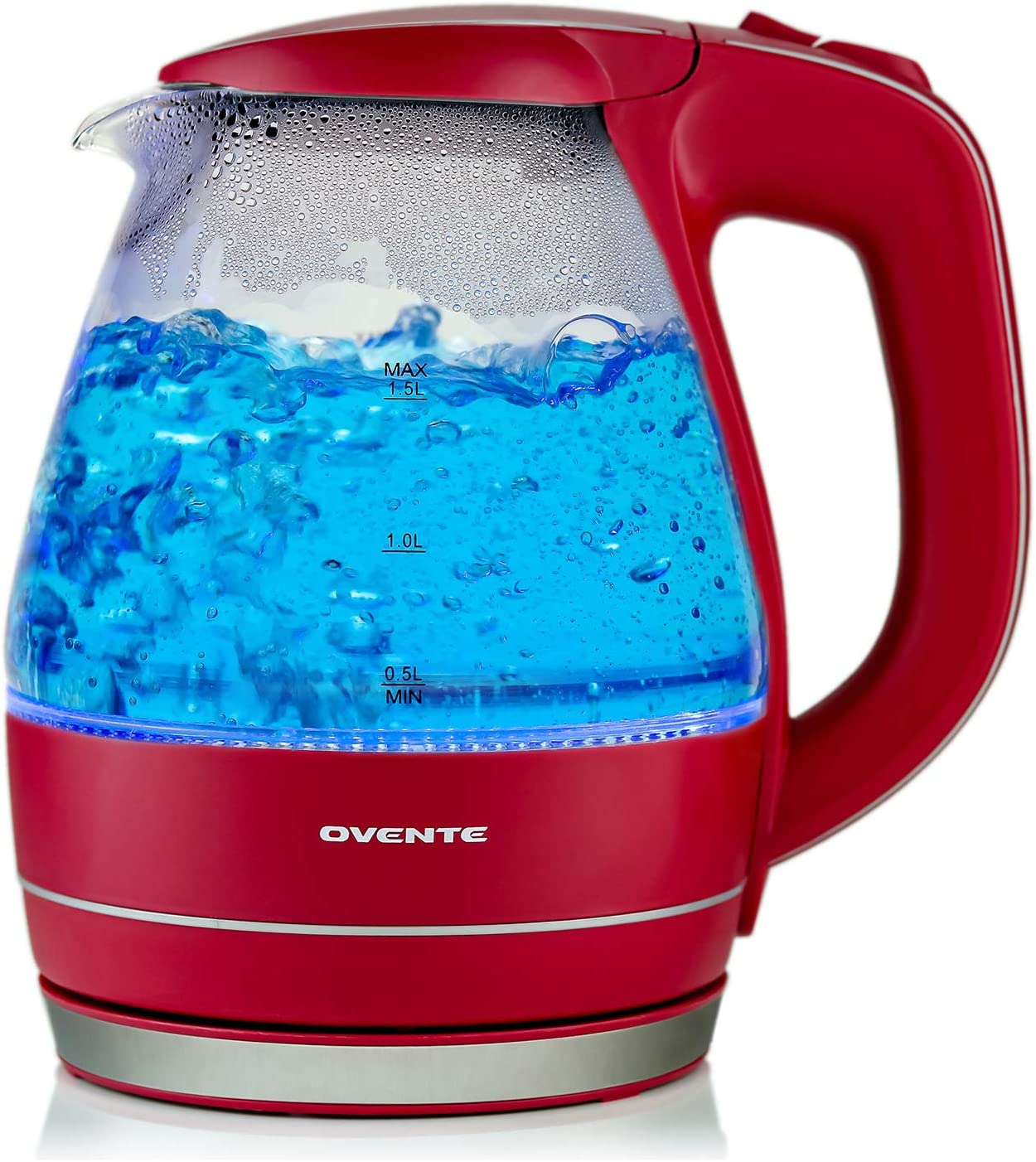 Ovente 1.5L BPA-Free Glass Electric Kettle, Fast Heating with Auto Shut-Off and Boil-Dry Protection, Cordless, LED Light Indicator, Maroon (KG83M)