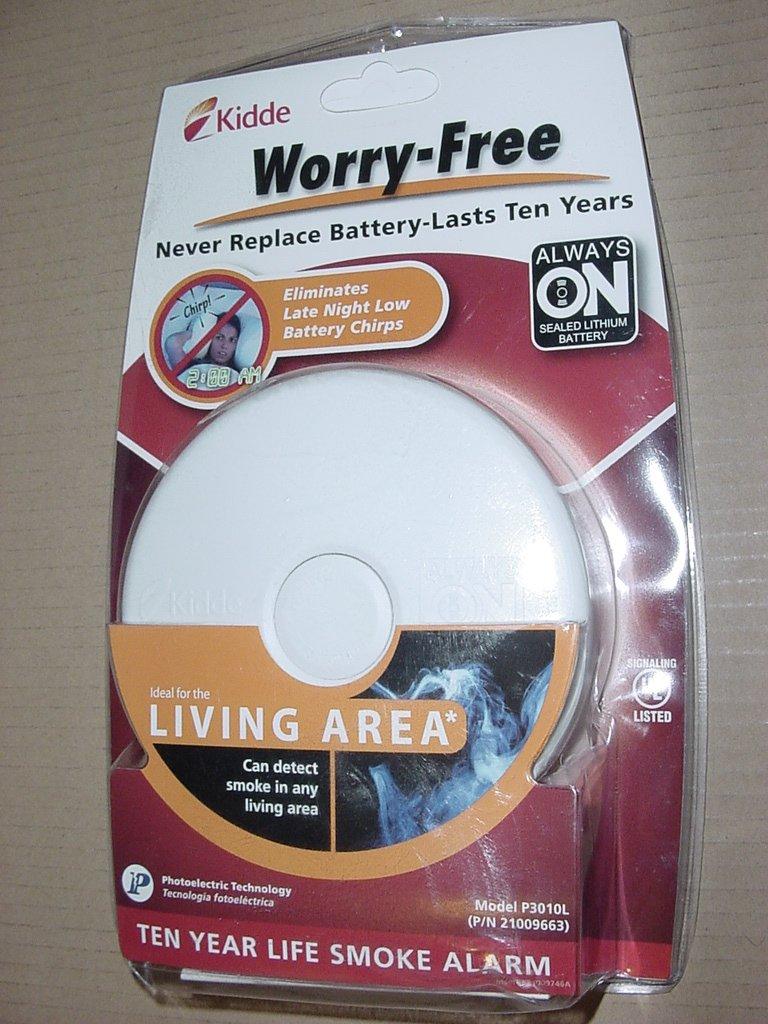 Kidde 21009663 10-Year Worry Free Battery Operated Smoke Alarm