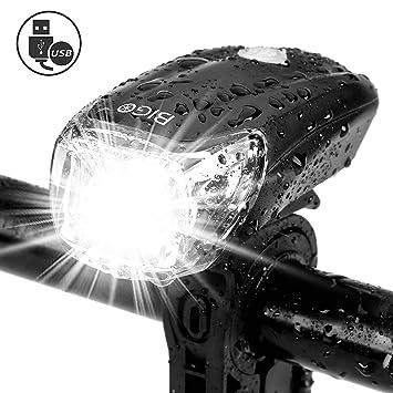 BIGO USB Recargable Luz de Bicicleta luz de La Bici LED Impermeable Linterna Delantera para Bicicletas 4 Modos De Iluminación: Amazon.es: Deportes y aire ...