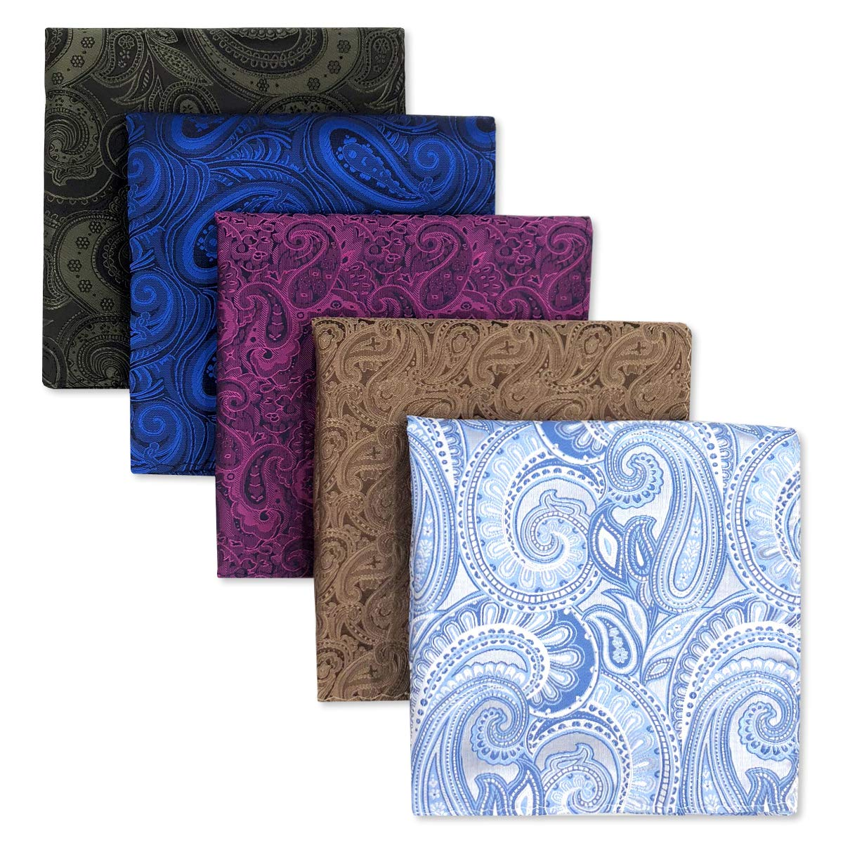 SHLAX/&WING 5 Pieces Assorted Mens Silk Pocket Square Handkerchiefs Set Lot