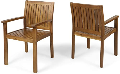 Christopher Knight Home 305350 Teague Outdoor Acacia Wood Dining Chairs Set of 2 , Teak Finish