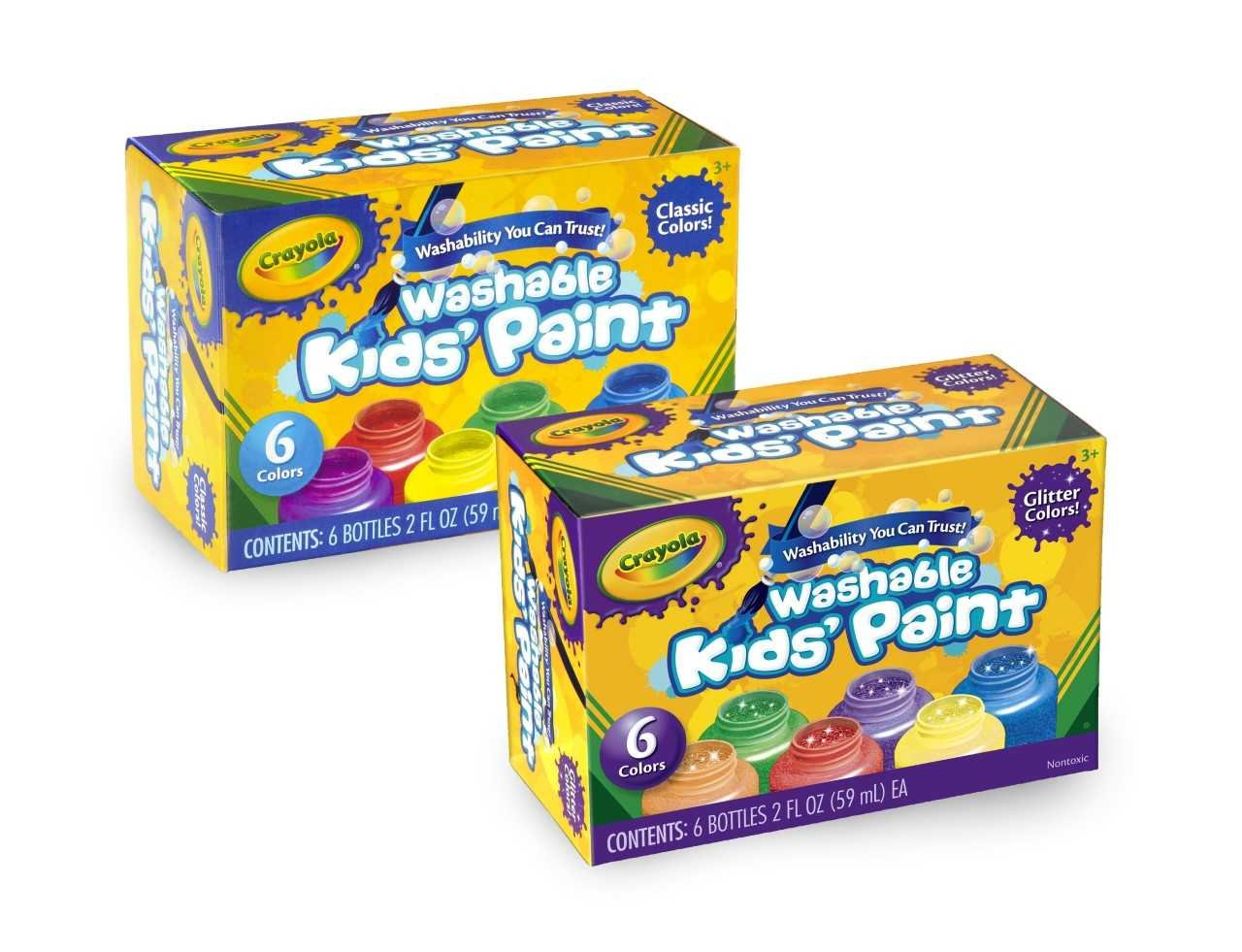 Crayola Washable Kids' Paint, Includes Glitter Paint, 12 Count