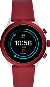 Fossil Men's Sport Heart Rate Metal and Silicone Touchscreen Smartwatch, Color: Grey, Dark Red (Model: FTW4033)
