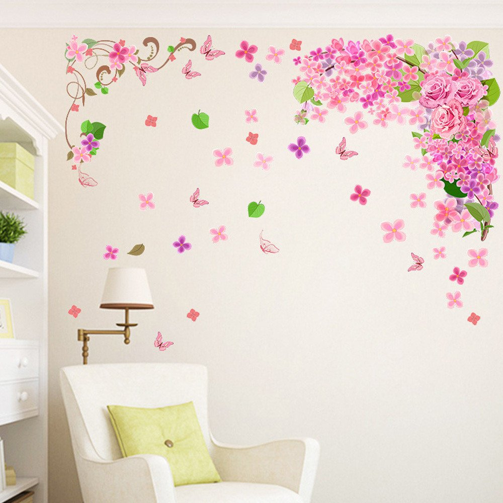 Jeash Pink Butterfly Wall Sticker for Children's Bedroom Living Room TV Background Wall Stickers Wedding Birthday Party Home Decorations Kindergarten Nursery Home Stickers (C)