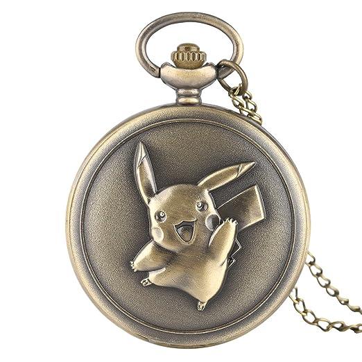 Retro Mens Pocket Watch, Kawaii Pikachu Pocket Watch Japan Anime Pokemon Theme Cartoon Clock Cute