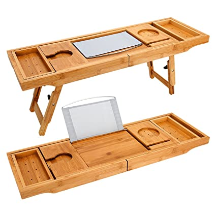 Bandeja de baño extensible de madera de bambú – Bandeja de escritorio para ordenador portátil con