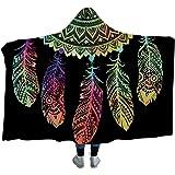 "Sleepwish Black Hooded Blanket Super Soft Neon Dream Catcher Blanket Boho Style Sherpa Fleece Blanket 80""x 60"""