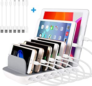 PRITEK Charging Station for Multiple Devices 60W/12A 7 Ports Desktop Charger Station with 6 Ai USB Ports + 1 Type-c Port with 7pcs USB Cables Compatible for Most USB Enabled Electronics (White)