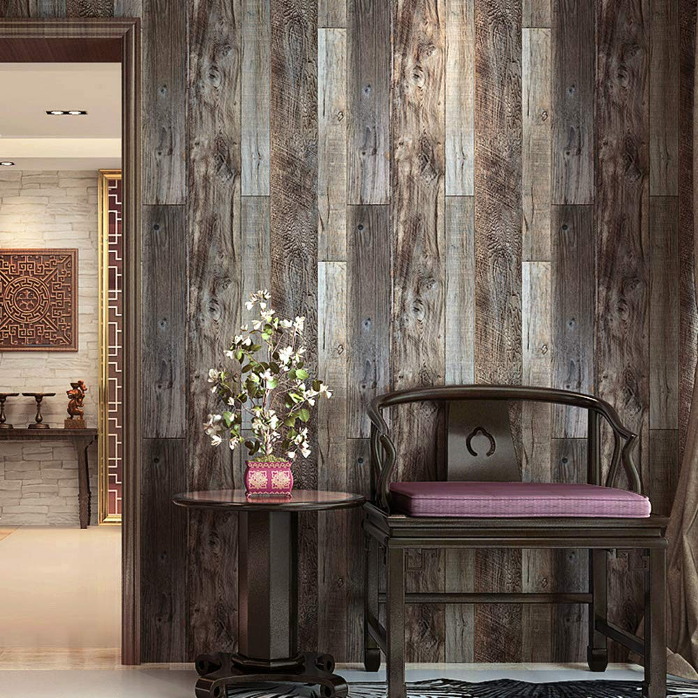 HaokHome 5003 Weathered Faux Wood Plank Wallpaper Rolls Slategray/Brown Barnwood Wallpaper Murals Home Kitchen Bathroom Decoration 20.8'' x 31ft