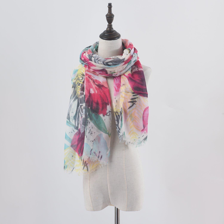 Aquazolax Stylish Lightweight Women Scarf Vibrant Colored Flowers//Dragonfly Pattern Print Shawl