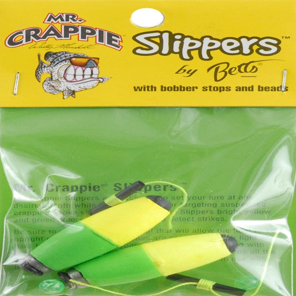"""New Mr Crappie Snappers Snap-On Foam Cigar Weighted Float 2.5/"""" 6Pk B2BW-50YG"""