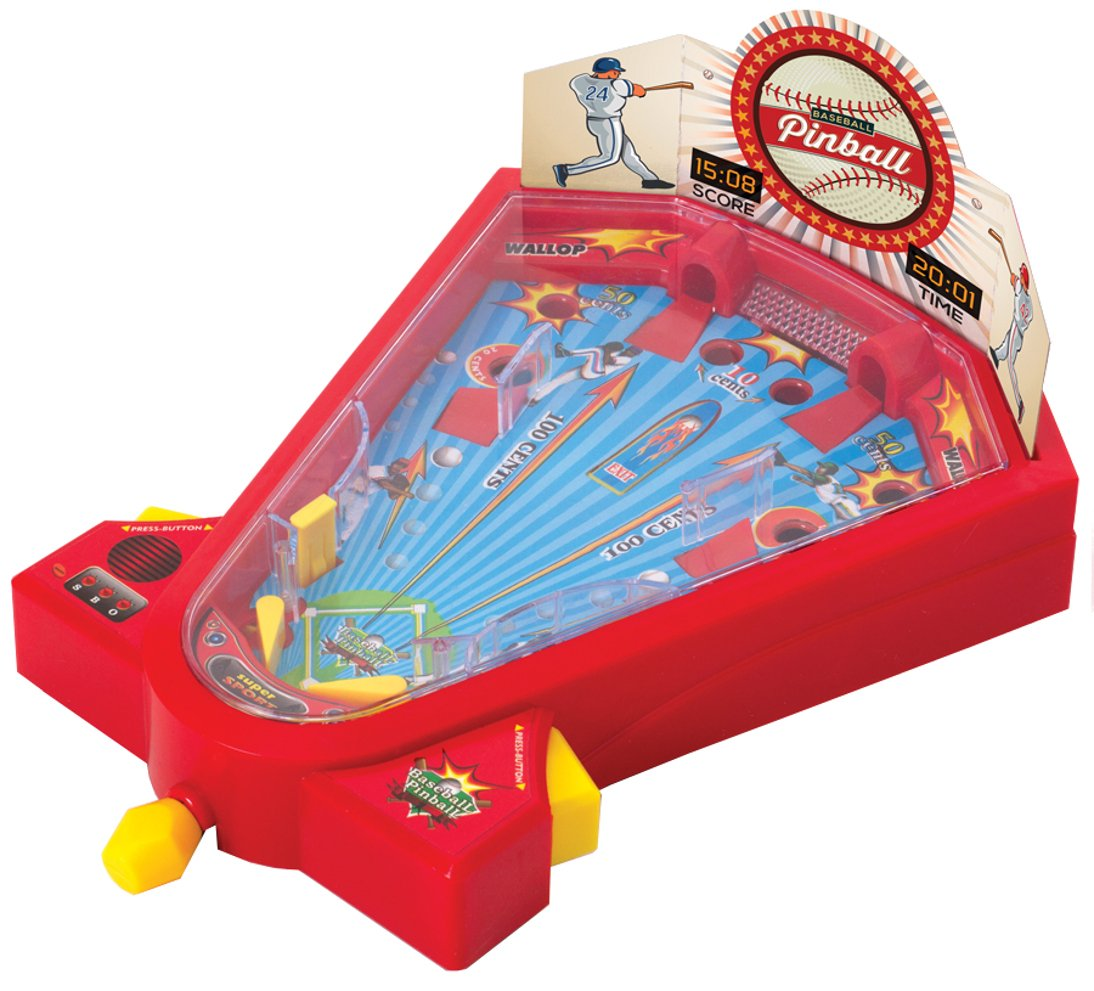 Ideas In Life Desktop Pinball Mini Baseball Game For Kids Tabletop Travel Games 1 or 2 Player Fun Activity Toy Hit Targets For Home Run