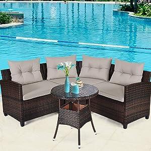 Tangkula 4-Piece Patio Furniture Set, C-Shape Outdoor Wicker Sectional Sofa Set, w/Cushions & Glass Coffee Table, Modern Deck Rattan Furniture for Garden Poolside Balcony (Beige)