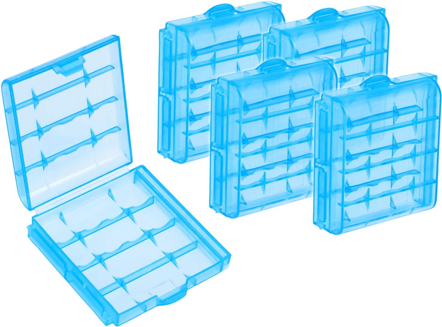 com-four® 5x Caja de batería para baterías AA y AAA Estuche de almacenamiento
