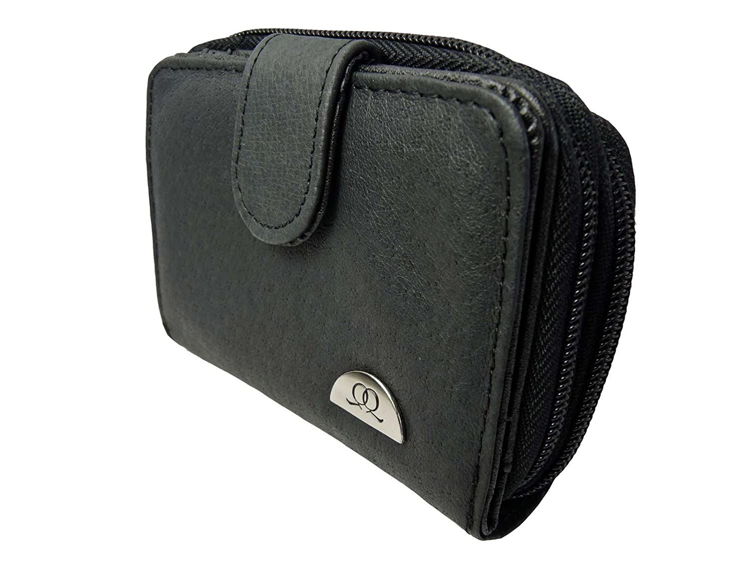 Ladies Leather Purse RFID BLOCKING - IN PRESENT BOX - 6 Credit Card Spaces Zip Closure - CONTACTLESS THEFT PROTECTION - Zipped Up Coin Section Photo Page - Quenchy London QL330KX (Black Gift Boxed) QL330X