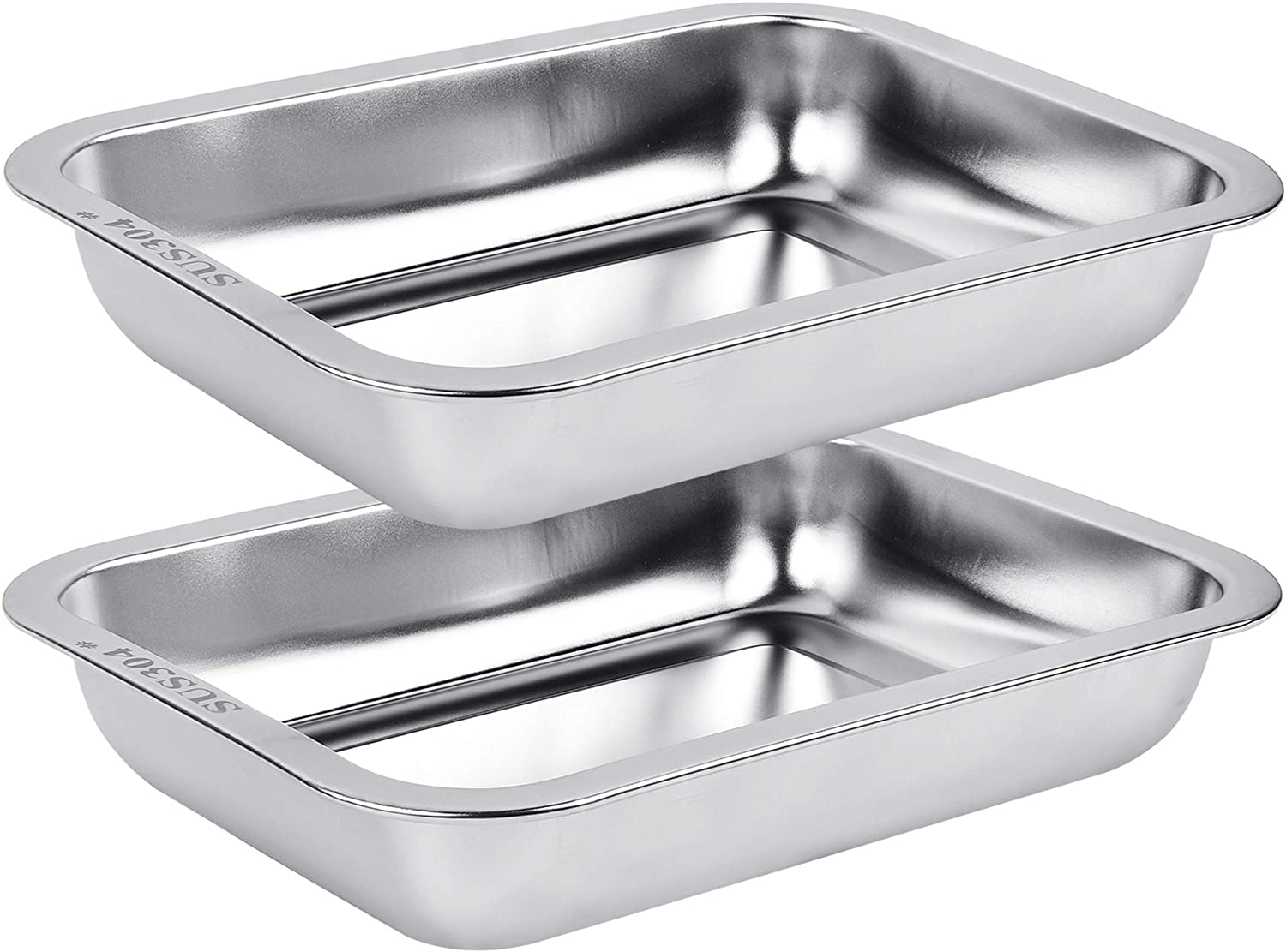2 Pack Baking Pan, Stainless Steel Rectangular Lasagna Pans, Brownie Pan Cake Pan for Kitchen, 10 x 7.5 x 1.8 Inches, Fit for Toaster Oven, Dishwasher Safe