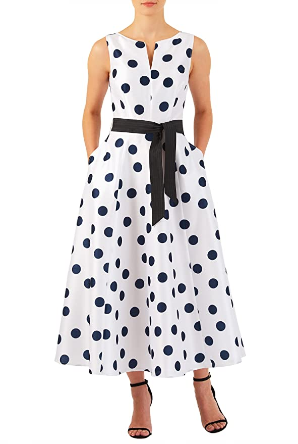 Vintage Inspired Cocktail Dresses, Party Dresses eShakti Womens Polka dot print dupioni midi dress $64.95 AT vintagedancer.com