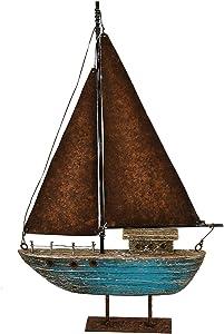 Nautical Wood Sailboat Tabletop Ornaments Handmade Rustic Wooden Boat Decoration Decorative Sailing Boat Model Beach Theme Home Decor (13.43