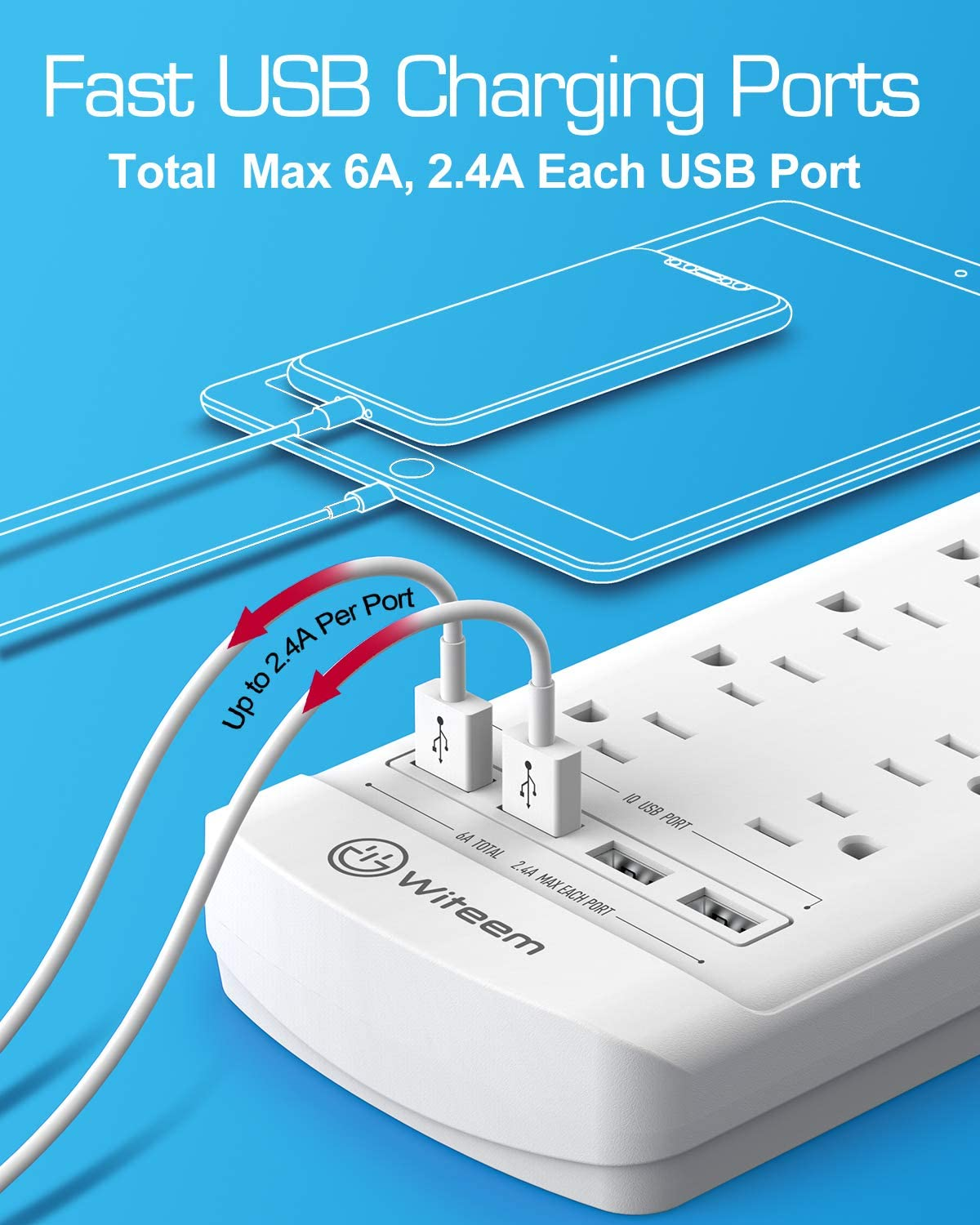 Power Strip,Witeem Surge Protector with 12-Outlet (1875W/15A,4360Joules) and 4 USB Charging Ports (5V/6A,30W),6Ft Extension Cord,Wall Mountable Overload Protection Outlet for Home & Office, White