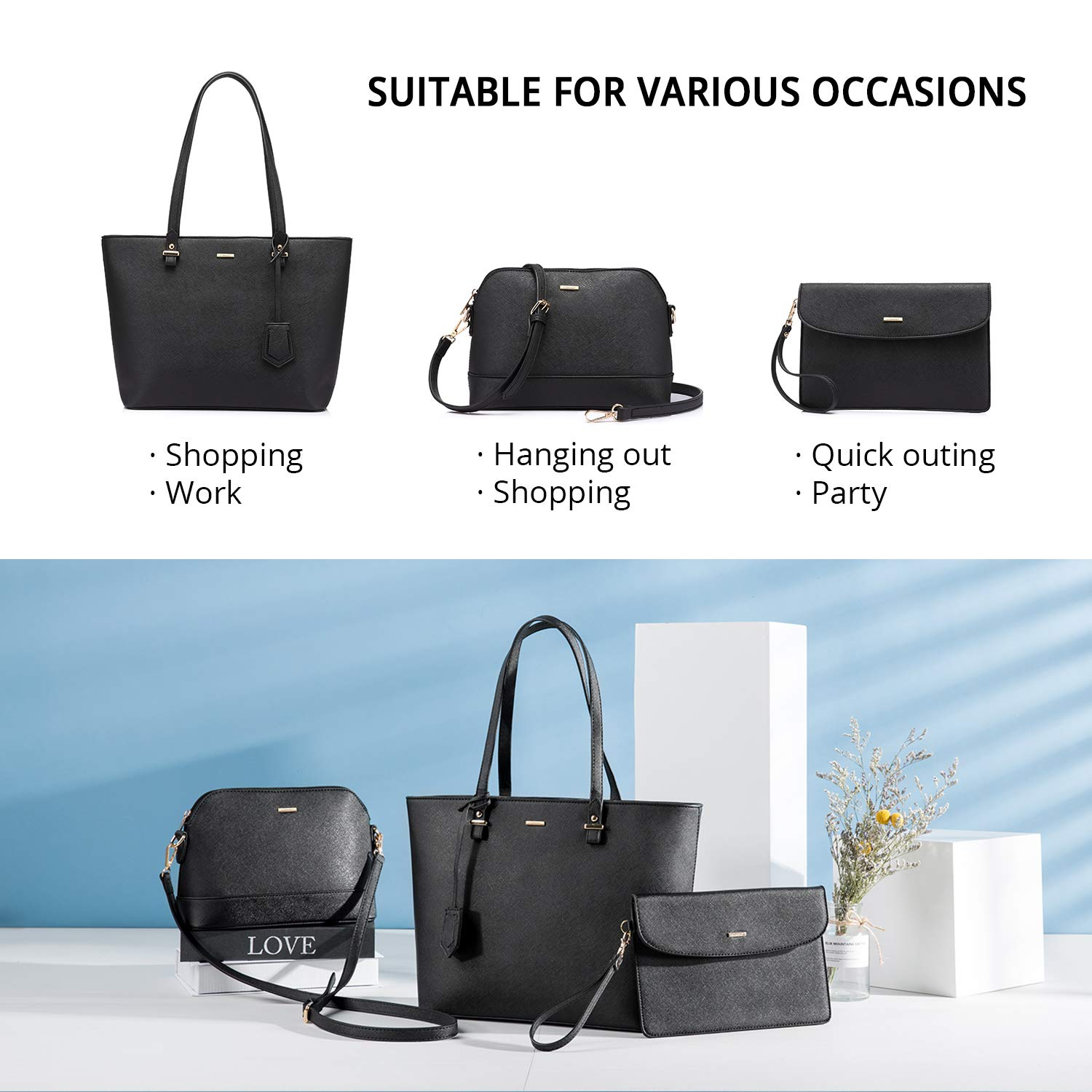 Ladies Handbag Tote Bag Handbags Women Shoulder Bag for Ladies Top Handle  Gorgeous 3 PCS Set Black  Amazon.co.uk  Shoes   Bags c53def4c40a17
