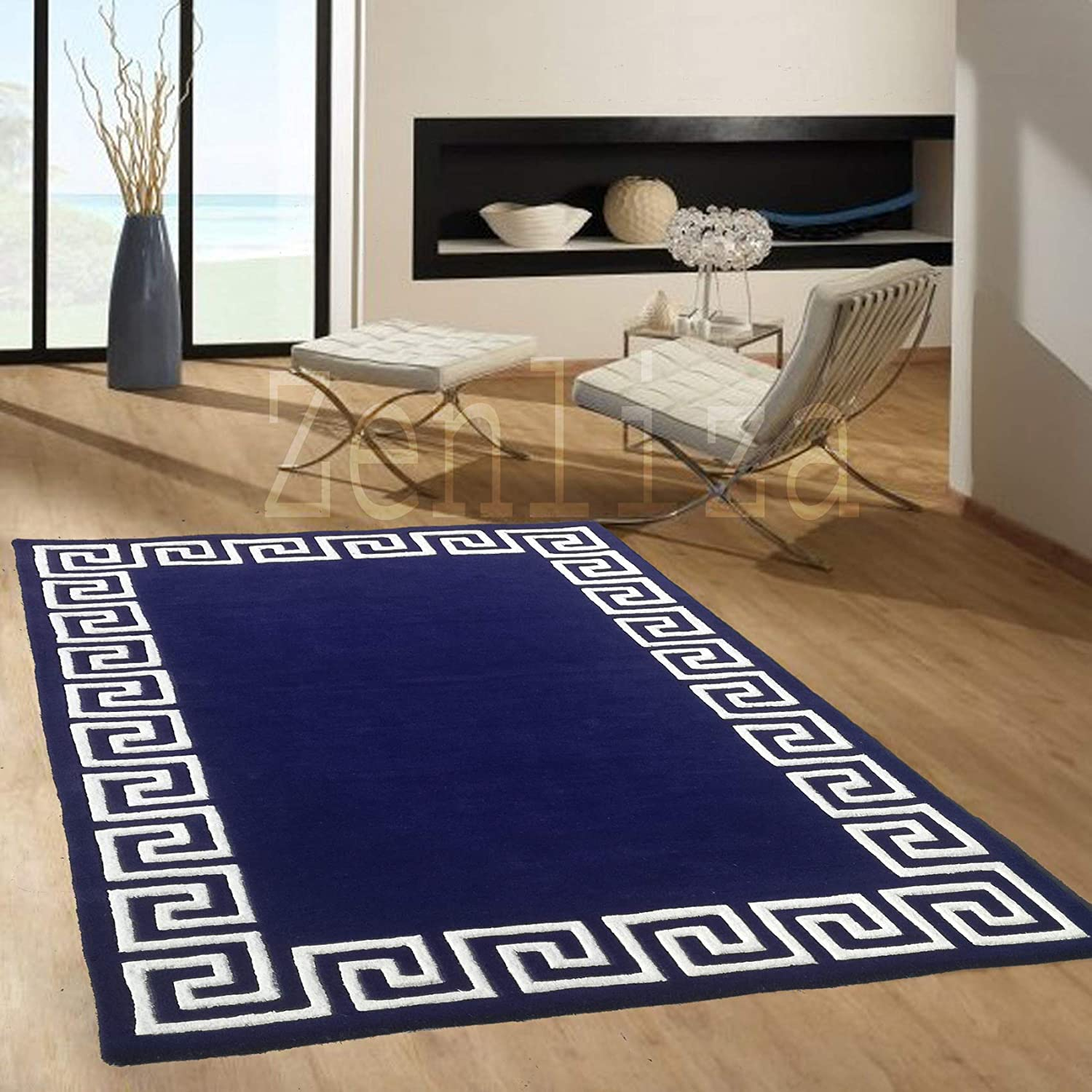 Buy Al Madad Hand Made Wool Carpet For Living Room Navy Blue 4 X 6 Feet Online At Low Prices In India Amazon In