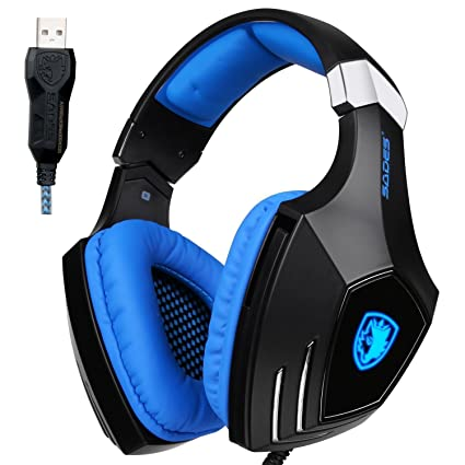 Sades AW80 USB Stereo Gaming Headset Over Ear with Mic Noise Reduction Bass  Vibration Volume Control f65ab930d3