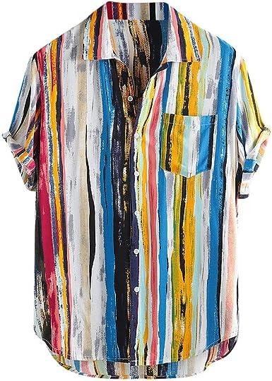 Hawaiian 3D Print Button Down Mens Casual Shirt Short Sleeve Summer Aloha Tee