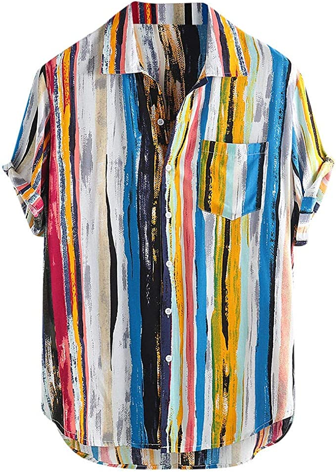Fllay Mens OL Striped Fashion Short Sleeve Lapel T-Shirt Tee Top