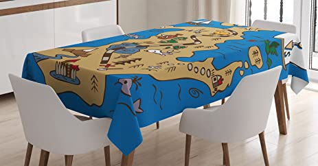 Ambesonne Island Map Decor Tablecloth Cute Treasure With Fish Mermaid And Camel Cartoon Kids