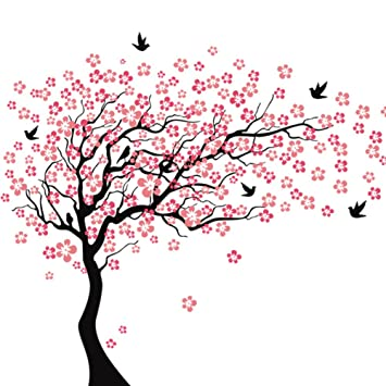 Tree Wall DecalsQIN Cherry Blossom Tree Wall Decals for Kids Rooms Teen Girls Boys  sc 1 st  Amazon.com & Amazon.com: Tree Wall DecalsQIN Cherry Blossom Tree Wall Decals for ...