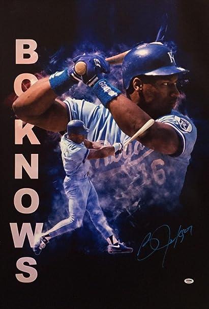 7e626f6af45 Bo Jackson Signed Custom Bo Knows 24x35 Canvas Royals Baseball AC81518 -  PSA DNA Certified