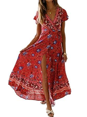 491c7eff145cea GARYOB Damen Kleider Boho Maxikleid Blumen Sommerkleid V-Ausschnitt Maxi Strandkleid  Lang mit Schlitz