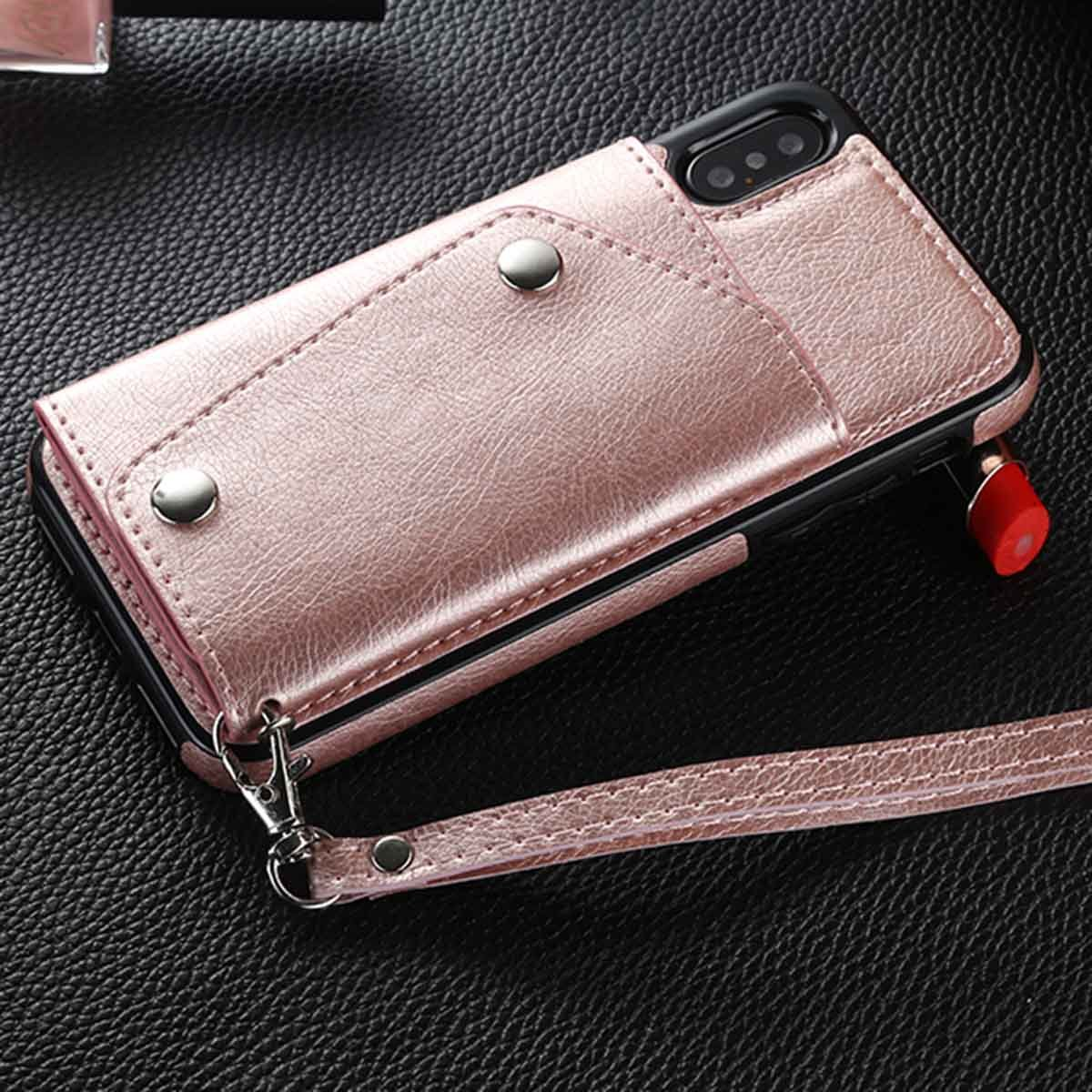 iPhone X Case, iPhone X Cases, i-Dawn Wallet Slim Leather Case with Foldable Kickstand Feature Multiple Card Slots Wrist Strap Protective Case Cover for Apple iPhone X -Rose Gold