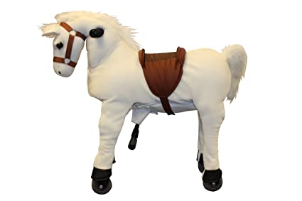 Amazon Com Mechanical Plush Riding White Horse Toy Ride On Bounce