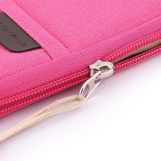 Amazon.com: eDealMax algodón de lino Exterior Con cremallera Pluma de la tarjeta de escritorio Bolsa de almacenamiento Cartera bolso Fucsia: Home & Kitchen