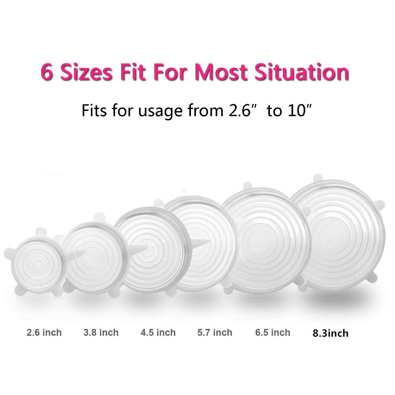 Silicone Stretch Lids,ReusableDurable Expandable Storage Covers for Container, Bowl, Can and Cup in Dishwasher, Refrigerator and Microwave 12-Pack Various Sizes