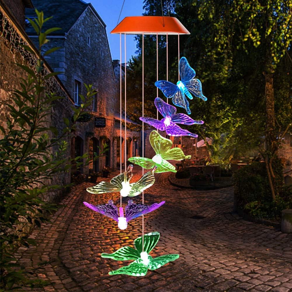 Campana de Viento Suspendida con Energ/ía Solar Luces de Campana Solares M/óviles Decoraci/ón de Campana para Patio Jard/ín Hogar al Aire Libre Luz de Campanas de Viento Solar de Color