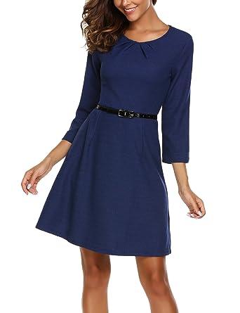 33dc41e4b881 Zeagoo Damen Herbst Winter Langram Vintage kleid Elegant Business Kleid 3/4  Arm Rundhals mit Gürtel