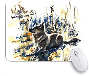 Gaming Mouse Pad Custom,Watercolor Painting German Shepherd,Non-Slip Rubber Base Office Mousepad Mat Desk Decor 9.5