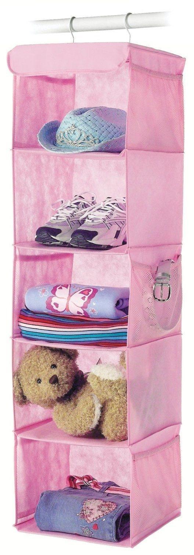 Generic YanHong-US3-151027-192 8yh2557yh k Hanger Pink Kids Girls Toys Cloth Home Storage 5 Shelf Home Stor Toys Clothing izer Clos Organizer Closet 5 Shelf Hook Hanger Pink