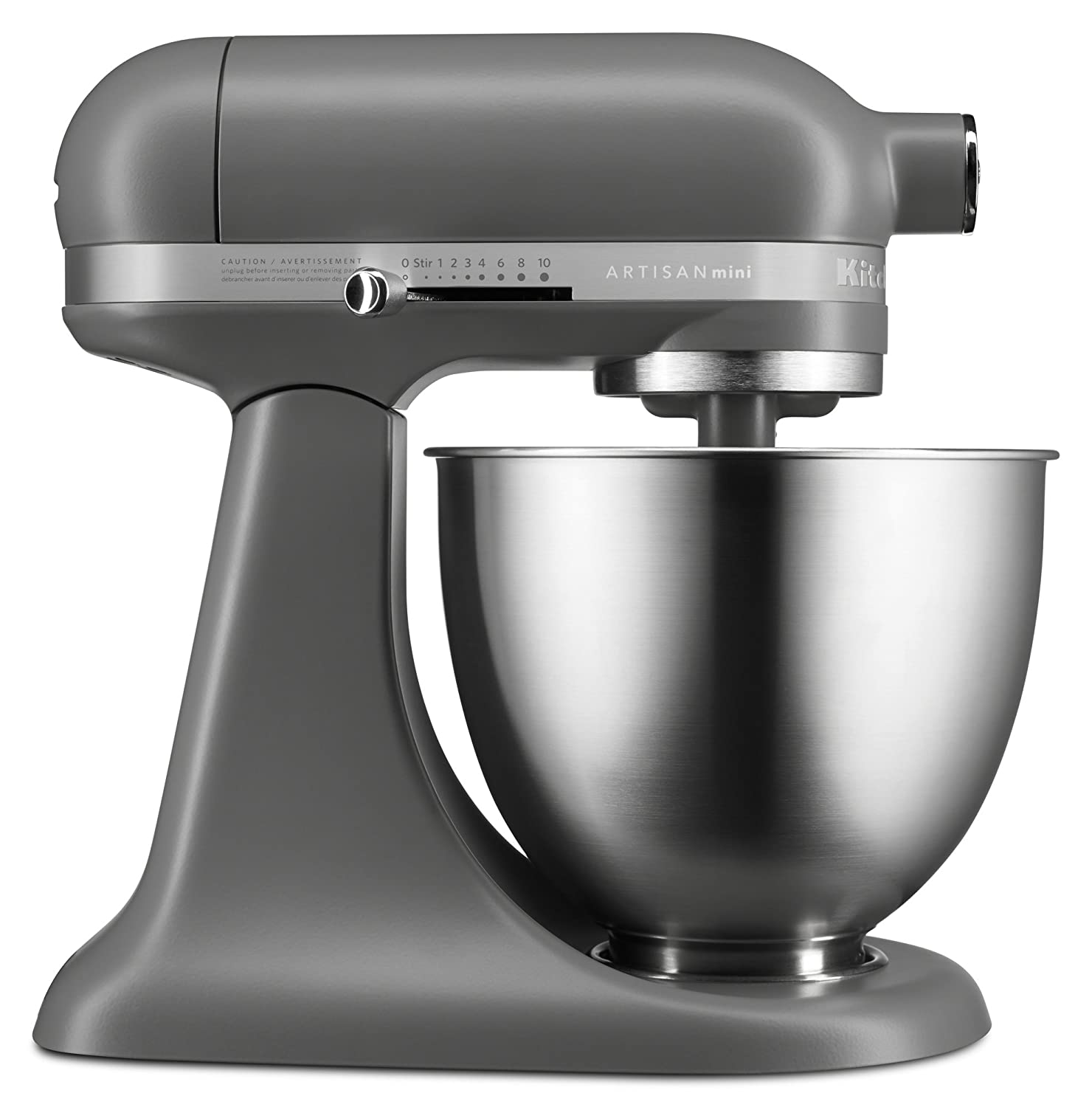 KitchenAid KSM3311XFG Artisan Mini Series Tilt-Head Stand Mixer, Matte Gray, 3.5 quart