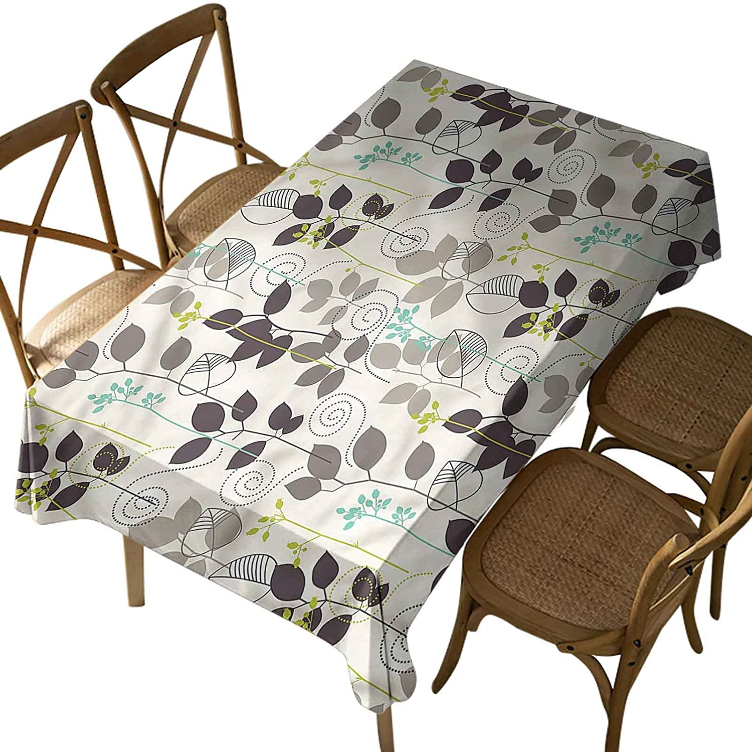 Iuvolux Picnic Table Cloth,Floral,Doodle Leaves Earth Tone,Oil-Proof,Stain Proof, Water Resistant, Polyester,Washable Table Cover,for Spring/Summer/Party/Picnic Oblong 60 x 104 Inch