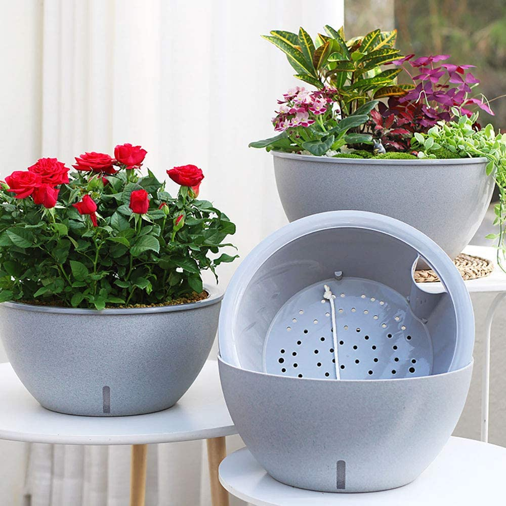 Sungmor Self Watering Planters 13.6 Inch Large Garden Bowl Micro Landscape Pots - 3PC Pack - Heavy Duty Modern Grey Marble Texture Big Plant Pots - Ideal Grow Veggies, Herbs, Succulents, Flowers