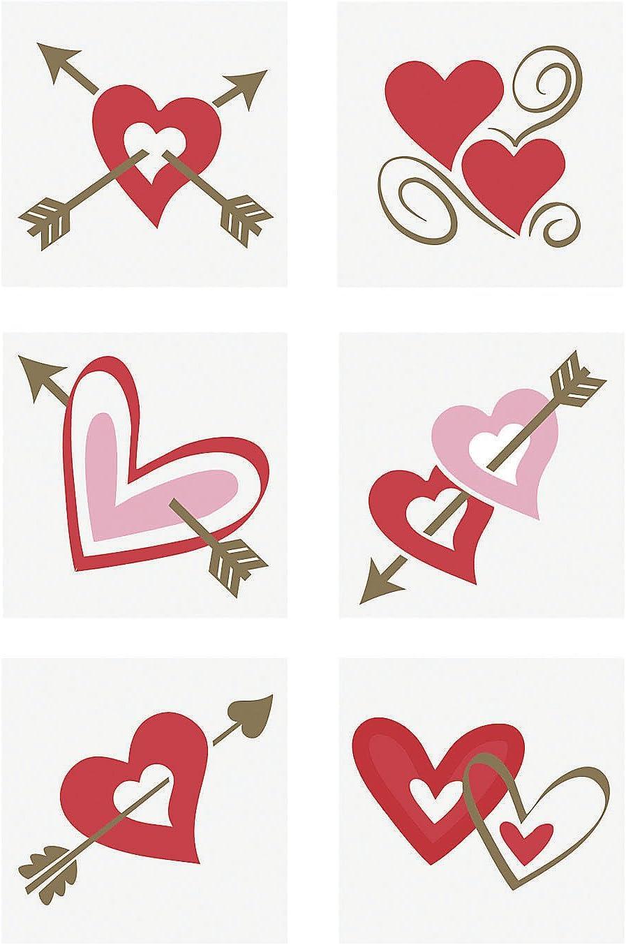 Fun Express – Valentine Tattoo for Valentine's Day – Apparel Accessories – Temporary Tattoos – Regular Tattoos – Valentine's Day – 72 Pieces