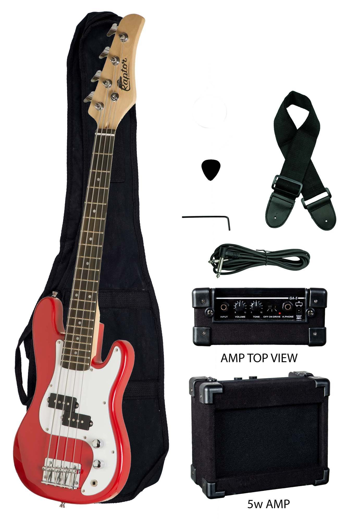 3/4 Size 38'' Junior Kids Red Electric Precision Bass Guitar & Amp Starter Pack, with Gig Bag, Strap, Cable, String, & DirectlyCheap(TM) Translucent Blue Medium Pick
