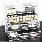Wonepo Acrylic Transparent Cosmetic Make up Organiser Holder with 4 Drawers Extra Wide and Larger Space